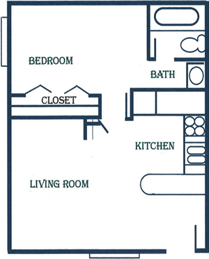 One Bedroom / One Bath - 662 Sq. Ft.*