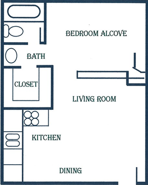 Studio / One Bath - 470 Sq. Ft.*